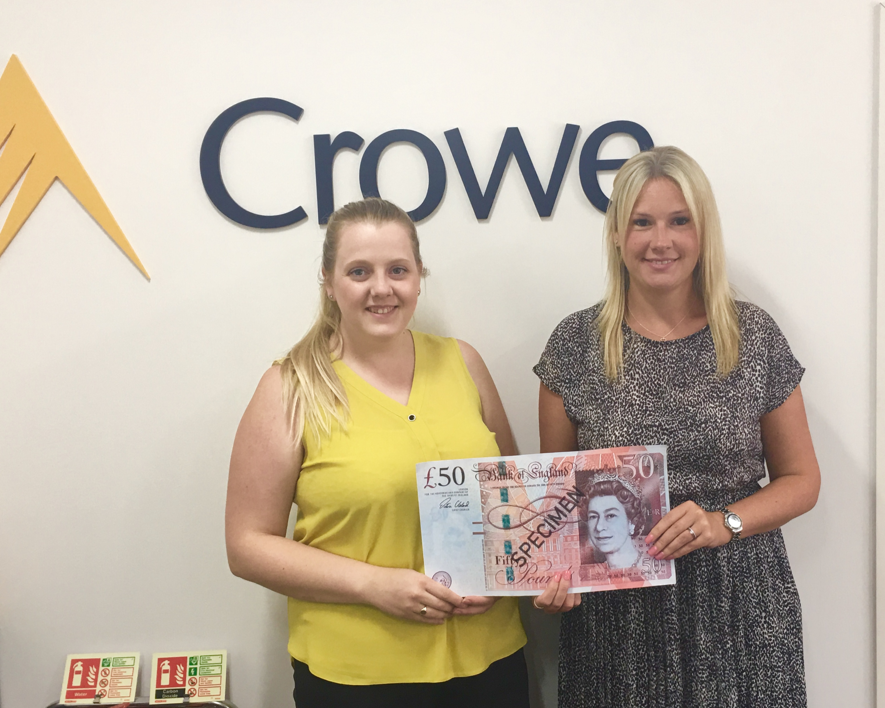 Crowe with their £50 starter fund.